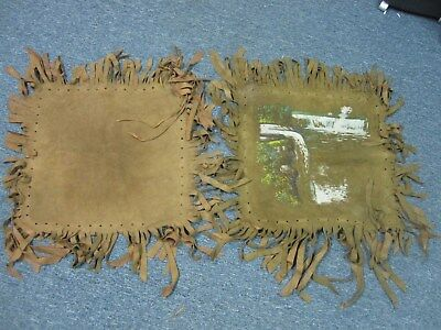 Antq 1917 Suede Leather Pillow Cover Fringe Painted Prospect Point Niagara Falls