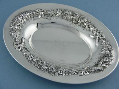 Sterling S KIRK & SON Oval Dish REPOUSSE floral & ribbon 925/1000