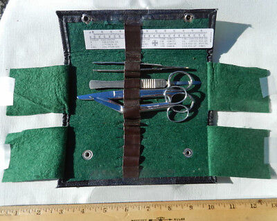 Vintage Adams Vest Pocket Medical Kit Tiemann Lancet, Betz Germany Scissors