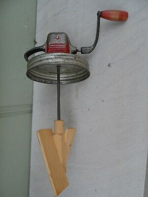 Vintage Red Top Metal Butter Churn Top Wood Paddles *Must See! No Reserve!