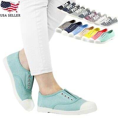 New Women Lace Up Low Top Casual Comfy Canvas Slip On Flat Sneakers Multi Shoes