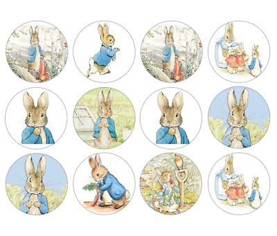 24/30/48/60/personalised PETER RABBIT CUPCAKE TOPPERS RICE PAPER BEATRIX POTTER