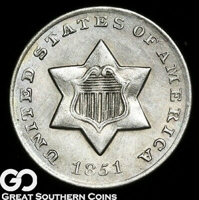 1851-O Three Cent Silver, Very Nice Choice BU++ Key Date ** Free Shipping!