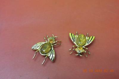 Vintage Coro Amber Rhinestone Jelly Belly Spider Pin Brooch