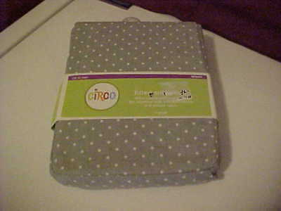 Circo Woven Fitted Crib Toddler Bed Sheet 100% Cotton Gray With White Dots - NWT