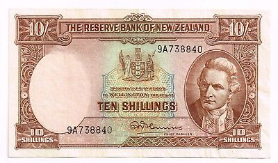 1956-60 NEW ZEALAND 10 SHILLINGS NOTE - p158c