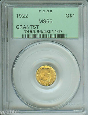 1922 G$1 GRANT STAR * Commemorative Gold Dollar PCGS MS66 OGH OLD GREEN HOLDER