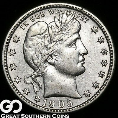 1905-S Barber Quarter, Very Tough Choice AU+ Better Date