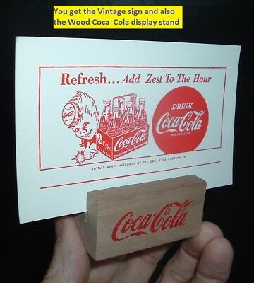Vintage Coca Cola Soda Pop Advertsing Counter Coke Sign & Wood Holder MINT 50's