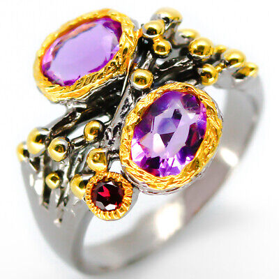 Special Price! Natural Amethyst 7x5mm. 925 Sterling Silver Ring / RVS23