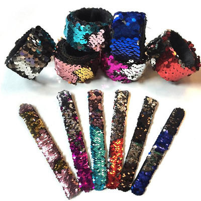 Giltter Reversible Mermaid Sequin Bracelet Snap Wristband Jewelry Kids Toy