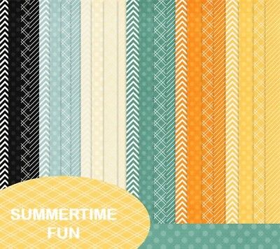 SUMMERTIME FUN - BASIC PATTERNS SCRAPBOOK PAPER - 24 x A4 pages