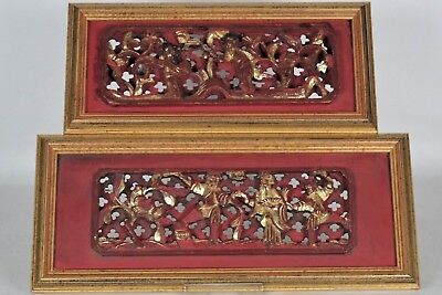 Two Fabulous Antique Chinese Traditional Carved/Gilt Hardwood Panels - framed