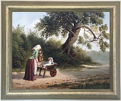 A Ride in the Wheelbarrow Antique Oil Painting William P. Cartwright (1864–1911)