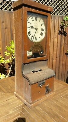Antique National Time Recorder Clocking In Machine