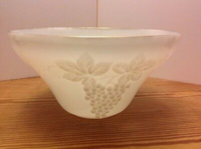 Vintage Anchor Hocking Grape Design Milk Glass Punch Bowl 1225 X
