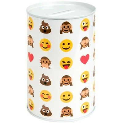 Kids Childrens Smiley Face Money Tin Box Piggy Bank Emoji Saving Gift Coin Jar