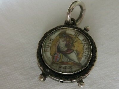 VICTORIA FOUR PENCE/GROAT 1843 COLOURED HAND ENAMELLED COIN in SILVER FOB
