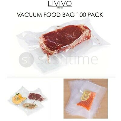 100xVacuum Seal Sealer Pouch Pouches Pack Food Bag Clear Butchers Meat Bag 20x30