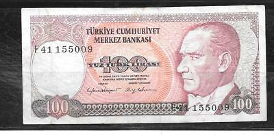 TURKEY #194b 1984 100 LIRA VF CIRC OLD BANKNOTE PAPER MONEY CURRENCY BILL NOTE