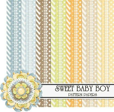 SWEET BABY BOY - BASIC PATTERNS SCRAPBOOK PAPER - 28 x A4 pages