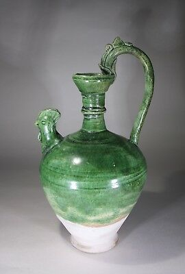 Antique Chinese Green Glazed Chicken Ewer Tang