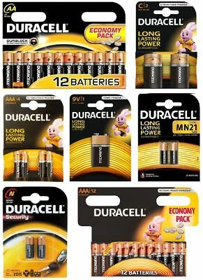 Genuine Duracell Battery AA AAA 9V LR1 MN21 C Alkaline Long Lasting Economy Pack