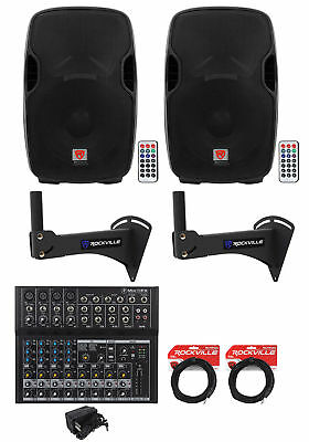 """2) Rockville BPA15 15"""" Powered 800w Speakers w/Bluetooth For Restaurant/Bar/Cafe"""