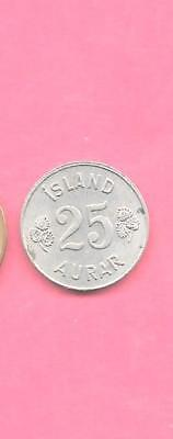 ICELAND KM11 1963 VF-VERY FINE-NICE OLD VINTAGE circulated 25 AURAR COIN