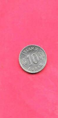 Iceland Km10 1961 Xf-Super  Fine-Nice Old Vintage Circulated 10 Aurar Coin
