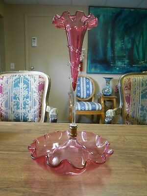 Stunning Victorian Stevens & Williams Cranberry Ruffled Epergne Applied Glass