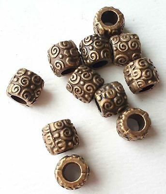 10pcs-big hole beads,Brass tube beads-bronze tone metal space beads,stopper bead