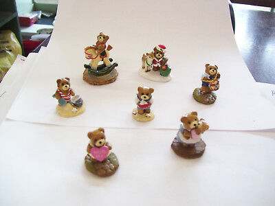 Wee Forest Folk Bears--TEENY TINY BEAR LOT--Lot Of 7--DONNA PETERSEN