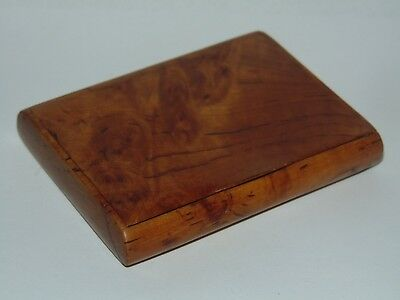 STYLISH ANTIQUE BURR WALNUT CIGARETTE CASE MADE ALL IN WOOD in Good Order