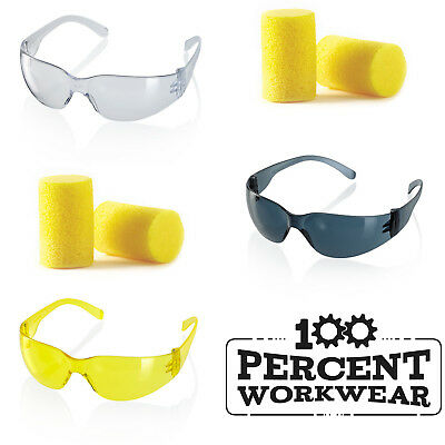 Safety Specs Spectacles Glasses EN166 Clear Smoke Yellow or Disposable Ear Plugs