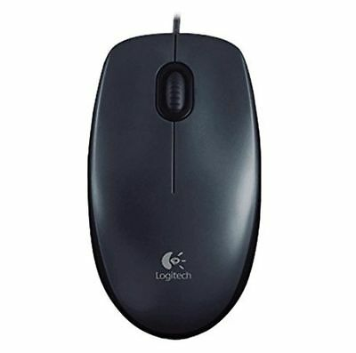 Logitech M100 3-Button USB Optical Wired Scroll Mouse  (Black)