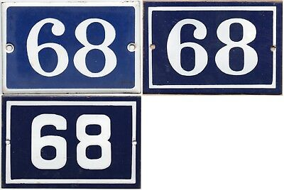 Old blue French house number 68 door gate plate enamel steel metal plaque - pick