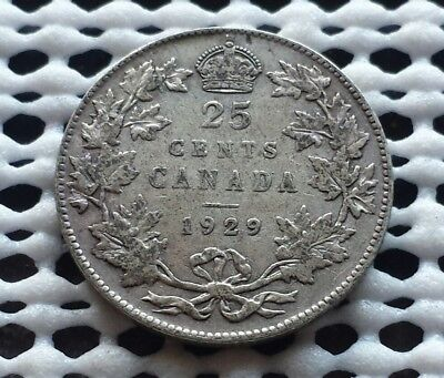 1929 ❀ King George V ❀ 25 Cent Canada Silver Coin Quarter