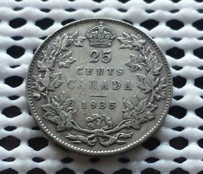 1935 ❀ King George V ❀ 25 Cent Canada Silver Coin Quarter