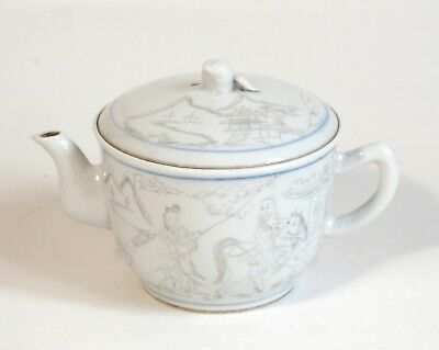 Fine antique Chinese 19th century porcelain teapot - etched