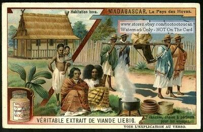 Madagascar Filanzane Being Carried By Porters 1909 Trade Ad Card