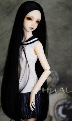 """1/6 6-7"""" BJD Doll Wig Jet Black Straight Layers Buckle Curl Tips Hair Long YL-a2"""