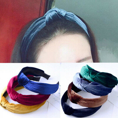 NEW Womens Headband Cross Hair Band Wide Side Velvet Solid Color Exotic Hairband