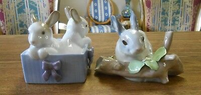 Two Rabbit Figurines Lladro # 4773 on Branch Retired & Nao Bunny Surprise 1988