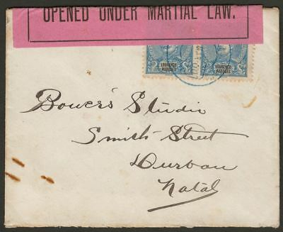 Lourenco Marques 1900 50c Pair Used on Boer War Censor Cover to Natal Mozambique