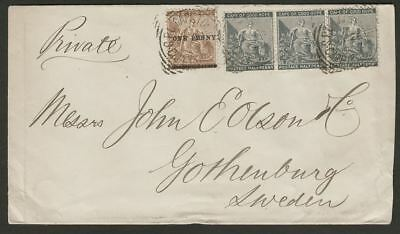 Cape of Good Hope 1893 Hope ½d x3 + 1d on 2d Used on Merchant Cover to Sweden
