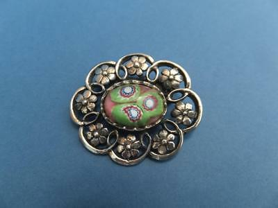 Vintage Glass & Silver Flower Brooch Pin Millefiore Murano Pink Green Blue Italy