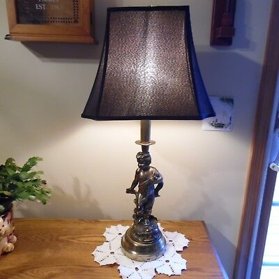 """Vtg Lovely Cupid Cherub Gold Brass Look Large Electric Table Lamp 29"""" w/shade"""
