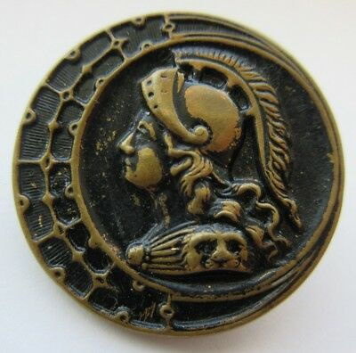Outstanding LARGE Antique~ Vtg Metal Picture BUTTON Ladies Head~ Knight (J13)
