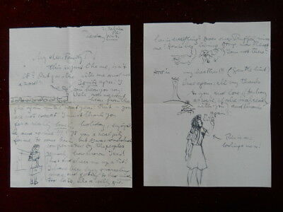 Handwritten Letter, with drawings, from Belsize Place, London, 1940s ?